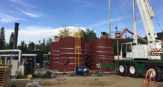 12' x 15' dry steel tanks in the field